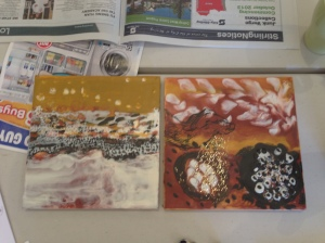 "Two beautiful artworks from the ""Mind Your Arts  Encaustic Workshop"""
