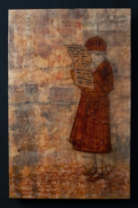 Eco Dyed Silk, Oil Stick, Shellac and Encaustic on Board.
