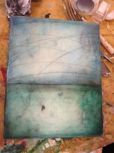 encaustic oil stick, encaustic paint on board